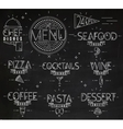 Menu in vintage modern style lines drawn chalk vector image