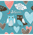 cute romantic owls vector image