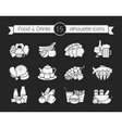 Food and drinks silhouette icons set Chalk vector image