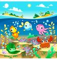 Happy marine family under the sea vector image