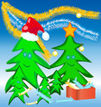 Merry Christmas tree with ornaments gift box and vector image