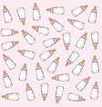pink seamless pattern with milk bottles vector image