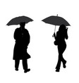 man and woman with umbrella vector image vector image