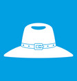 hat icon white vector image vector image