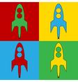 Pop art starting rocket icons vector image vector image