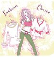 Decorative fashion pondered woman with clothes in vector image