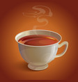 Isolated realistic white tea cup with vapor on vector image