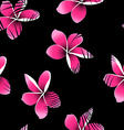 Tropical palm leaves over pink frangipani seamless vector image