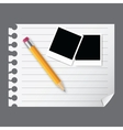 Yellow wooden pencil on a blank notepad on b vector image