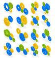 gear wheels isometric set vector image