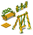 wooden swing bench fence with creeping plant vector image