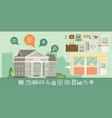 bank building in city space with icons in flat vector image