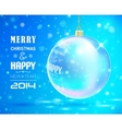 Christmas and New Year Card with glass ball vector image
