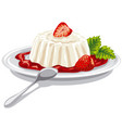 dessert panna cotta with strawberry vector image