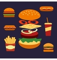 Flat icons of assorted takeaway food vector image