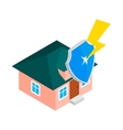 House protect by shield icon isometric 3d style vector image
