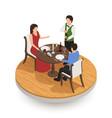 people tasting wine in restaurant vector image
