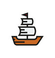sailing ship icon on white background vector image