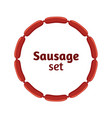 sausages flat set bacon meat barbecue label for vector image