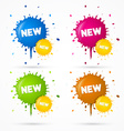 Blue Orange Pink and Green Stickers Blots Stains vector image vector image