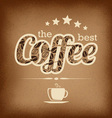 Coffee label design over grunge vintage background vector image
