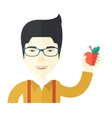 Man holding apple vector image