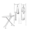 Clothes on hangers Iron vector image