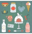 Colorful collection of sweets and drinks Cute vector image