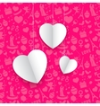 Hanging Heart in Seamless Love Background vector image