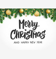 merry christmas text fir tree branches and vector image