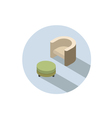 isometric modern beige armchair with pouf vector image
