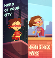 Vertical Banners With Kids In Superhero Costumes vector image