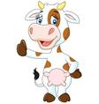 Happy cow giving thumb up isolated on transparent vector image