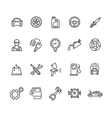 Car Service Outline Icons Set vector image
