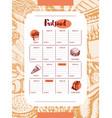 fast food - color hand drawn vintage template menu vector image