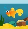 Goldfish in aquarium with treasures vector image
