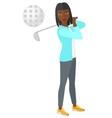 Golf player hitting the ball vector image