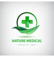 nature medical logo green leaf and crest vector image