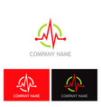 Pulse heart beat health logo vector image