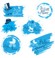 baby boy shower set in grunge style calligraphi vector image