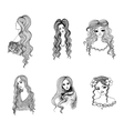 Set of hand drawn girl sketches vector image