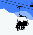 ski lift snowboarders skiers vector image vector image