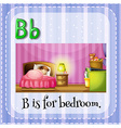 Flashcard letter B is for bedroom vector image vector image