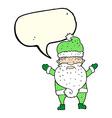 cartoon grumpy santa with speech bubble vector image