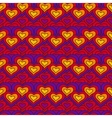 Red chain of hearts seamless pattern vector image