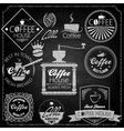 Coffee set elements chalkboard vector image