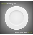 Empty white plate on grey bakcground EPS10 vector image