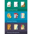Flat icons engineering design vector image