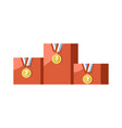 gold medals for prize-winning places on pedestal vector image