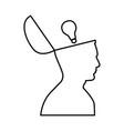 man with lightbulb idea in open head black icon vector image